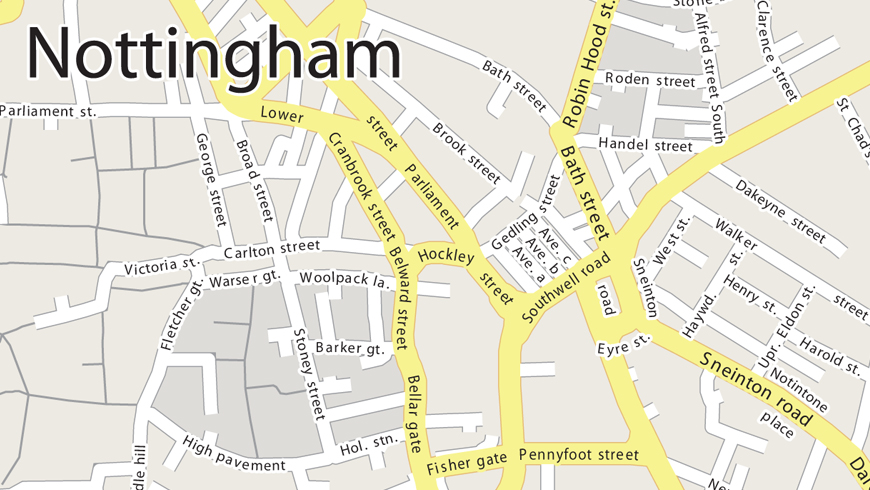 Example Vector Map of Nottingham
